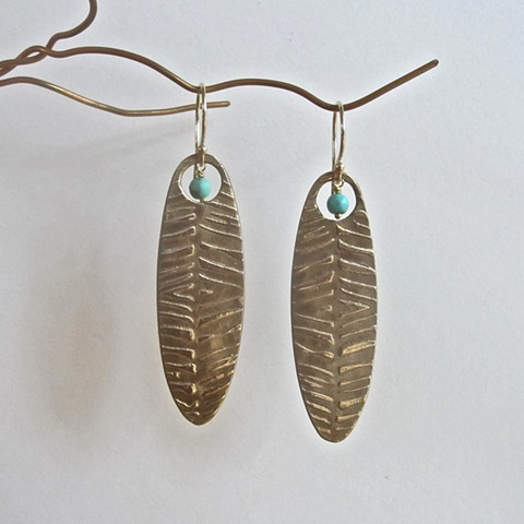 Leaves with Touquoise earrings