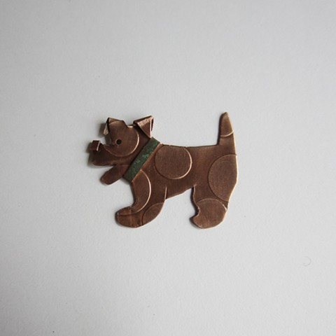 Little Spotted Dog with a Green Collar pin
