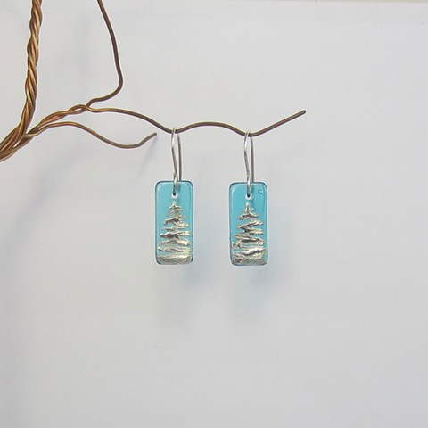Teal Christmas Tree earrings