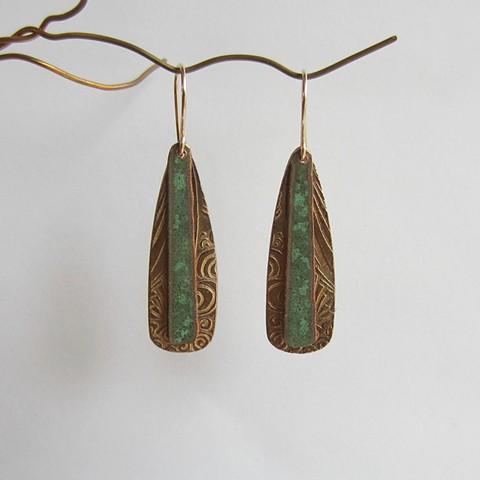Long Gold & Green  earrings