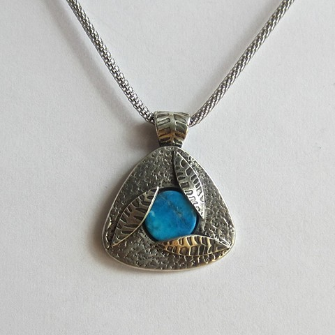 Triangle with Turquoise and Leaves