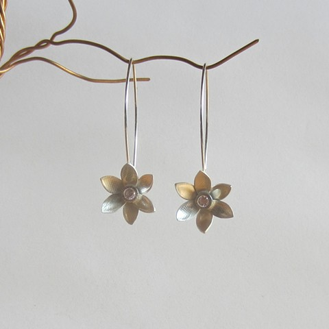 Flowers with Pink Stone earrings