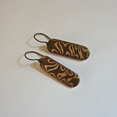 bronze, steel and copper metal clay earrings