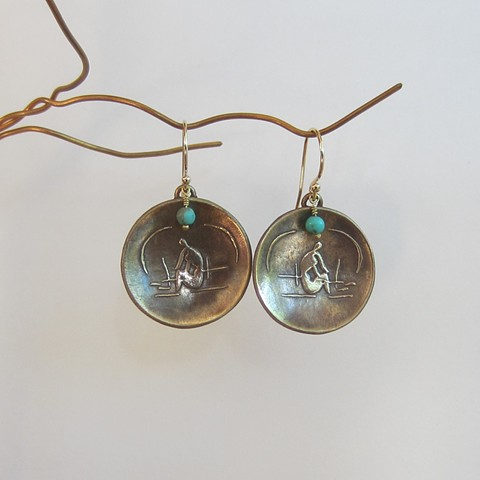 bronze metal clay earrings, inspired by Matisse Cutouts