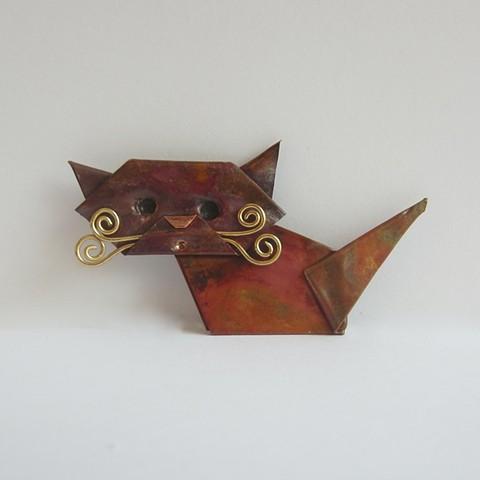 Origami Cat pin