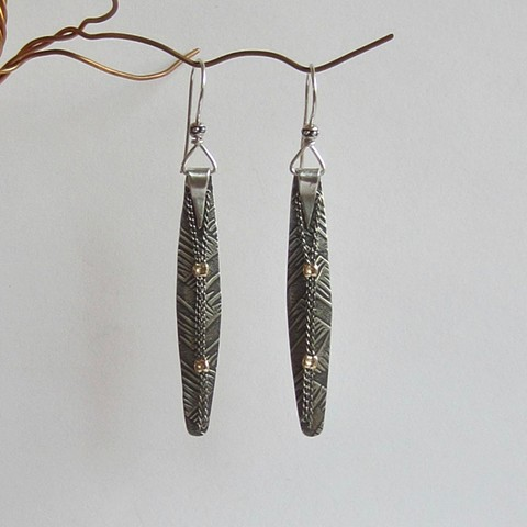 Long Silver earrings with Chain