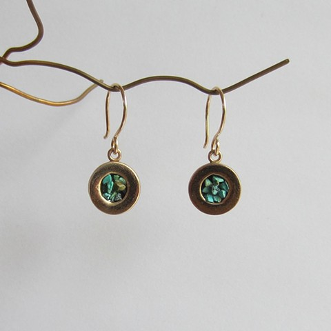 Short Circles with Turquoise Inlay earrings