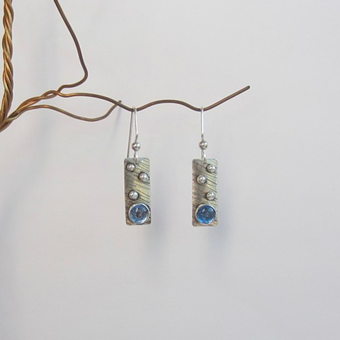 Silver Rectangles with Blue Stone earrings