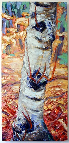 Tree portrait painting acrylic trees birch