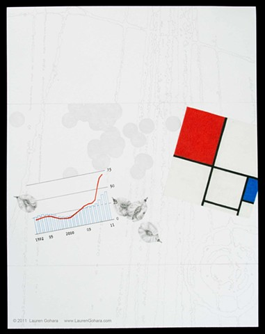 drawing of elm seeds, food stamps, Mondrian, particle physics tracks, and dots by Lauren Gohara