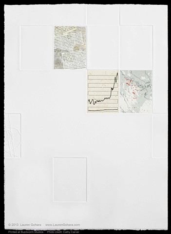 intaglio print with chine colle, news clippings, 1% vs 99%, Indonesia fires, particle physics tracks, debossing, and embossing by Lauren Gohara