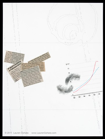 drawing of household debt and disposable income, newspaper clippings, particle physics tracks, and feathers by Lauren Gohara