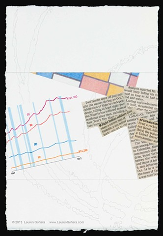 drawing of income stagnation, income inequality, news clippings, political violence, particle physics tracks, and Mondrian, by Lauren Gohara