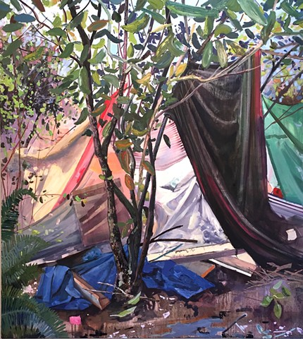 homeless, provisional housing, sticks and cloth