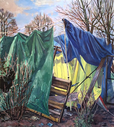 homelessness, provisional living, shelter, sticks and cloth