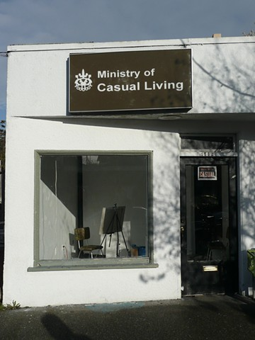 Painter in the Window.  Ministry of Causal Living.  Victoria, BC