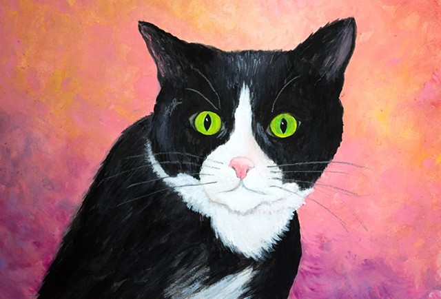Pet Portrait Painting by Diane Daversa, tuxedo cat painting, diane daversa art, cat art