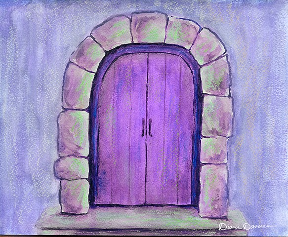 inspirational art, art for licensing, purple door painting by Daversa, Quotes, sayings