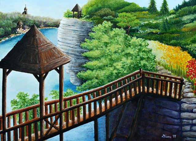Bridge Landscape, mohonk, gazebo, lake painting, Diane Daversa art
