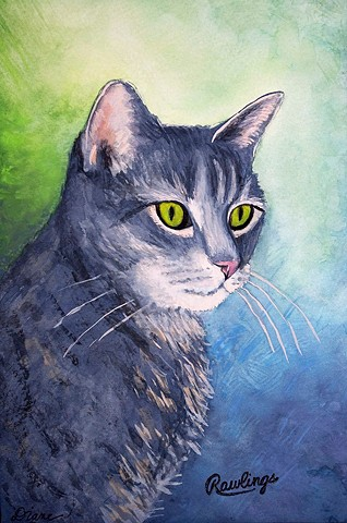 Pet Portrait Painting by Diane Daversa, tabby cat painting, diane daversa art, cat art