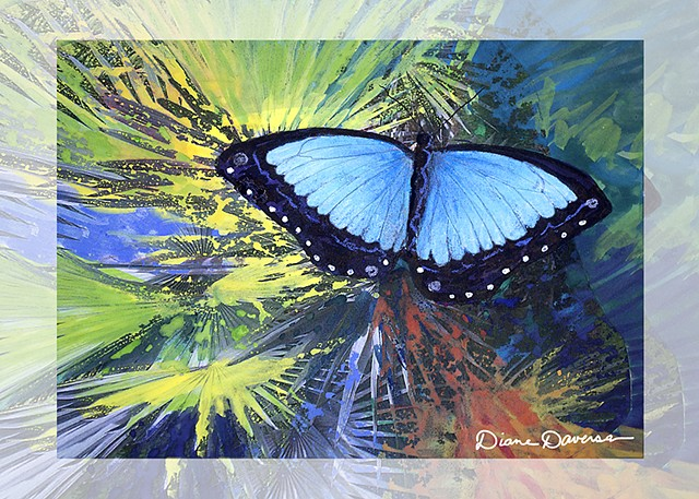 blue morpho butterfly painting by Diane Daversa butterfly art, blue morpho art, diane daversa art