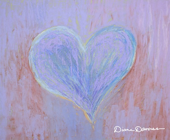 heart art, heart painting by Diane Daversa, hearts, lavender heart