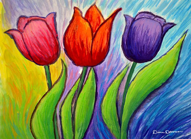 tulip art, floral art, floral painting, tulip painting by Diane Daversa, diane daversa art, flower art