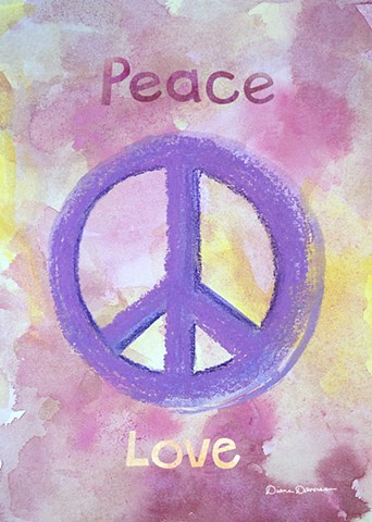 peace love painting by Diane Daversa, peace sign art, love and peace art, diane daversa art