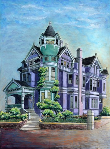 victorian House Portrait Painting by Diane Daversa, diane daversa art, victorian house art