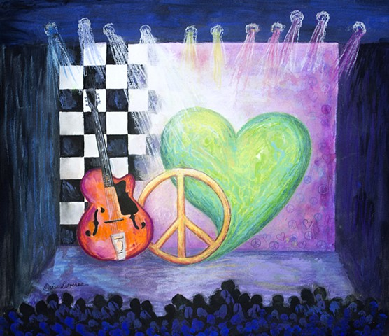 Peace love and rock and roll, painting by Diane Daversa, diane daversa art