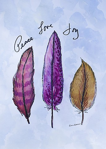 feather painting by Diane Daversa, inspirational art painting, boho art, feather art, diane daversa art