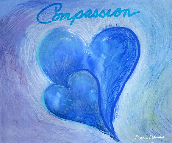 compassion heart painting, blue heart painting by Diane Daversa, heart art
