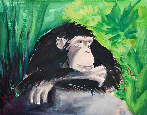 Ape painting by Diane Daversa, children's book illustration, ape art, diane daversa art