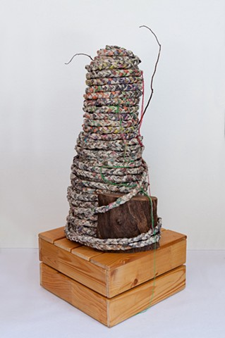 Ben Lyon or Benjamin Lyon makes mixed media art sculpture addressing environmental issue, by combining artificial and natural materials using inherited and free objects.