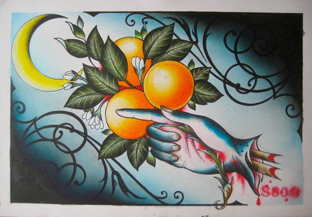 painting by tattoo artist Sadie Kennedy, Sweet Trade Tattoo, Lahaina, Maui