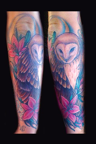 barn owl lilies and moon tattoo by Sadie Kennedy, Rose Golds Tattoo, San Francisco