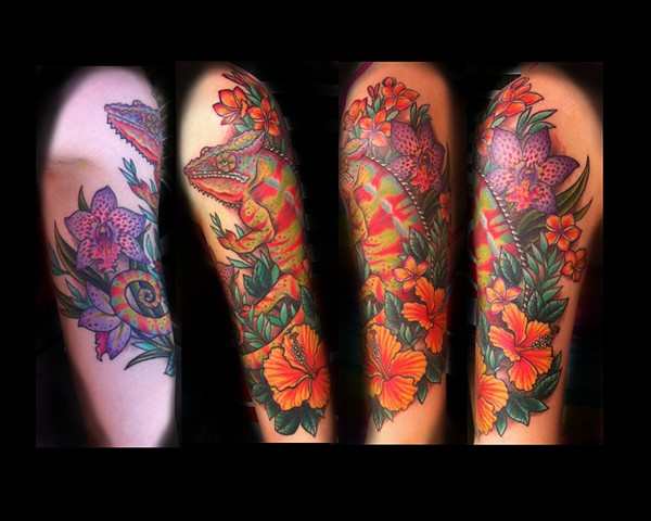 panther chameleon lizard tattoo by tattoo artist Sadie Kennedy, Rose Golds Tattoo, San Francisco