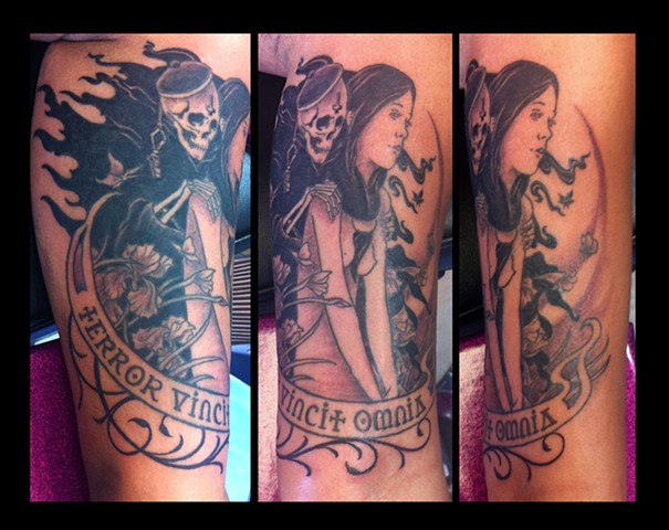 art nouveau reaper and girl tattoo by Sadie Kennedy, Rose Golds Tattoo, San Francisco