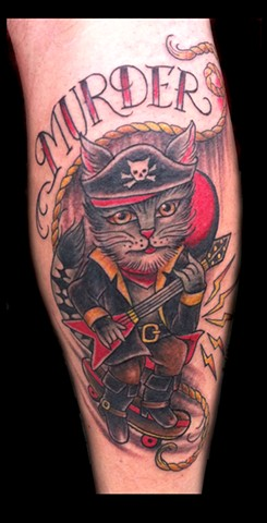 cat pirate guitar skateboard tattoo by Sadie Kennedy, Rose Golds Tattoo, San Francisco