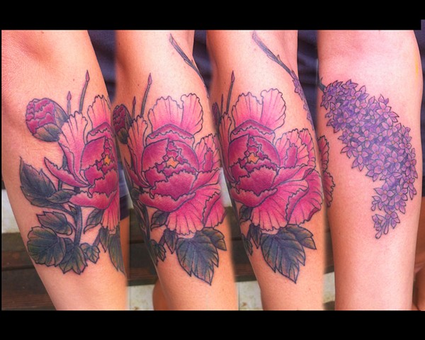 peony and lilac tattoos by Sadie Kennedy, Rose Golds Tattoo, San Francisco
