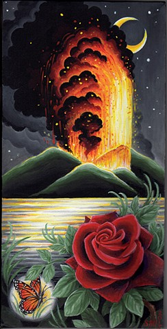 volcano island tropical scene rose butterfly painting art by Sadie Kennedy. Rose Golds Tattoo, San Francisco