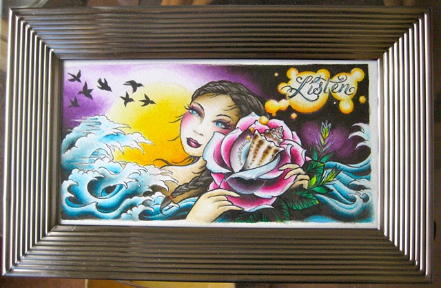 girl shell rose wave painting by artist Sadie Kennedy, Sweet Trade Tattoo Maui