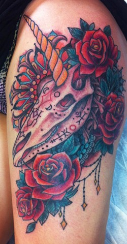 unicorn skull tattoo by Sadie Kennedy, Rose Golds Tattoo, San Francisco