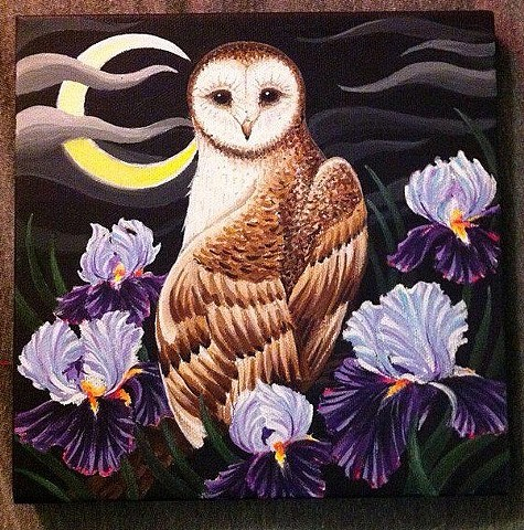 owl and irises iris flower painting art by Sadie Kennedy, Rose Golds Tattoo, San Francisco