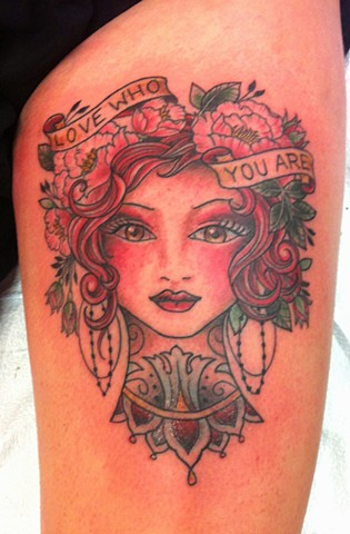 girl head roses banner tattoo by Sadie Kennedy, Rose Golds Tattoo, San Francisco