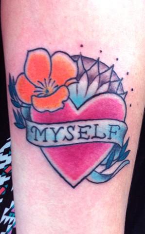 heart mandala california poppy tattoo by Sadie Kennedy, Rose Golds Tattoo, San Francisco