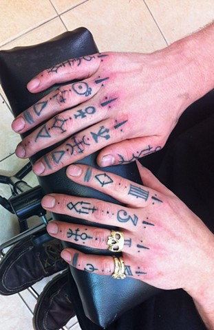 rune lettering hand finger tattoos by Sadie Kennedy, Rose Golds Tattoo, San Francisco