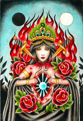 tattoo art painting by tattoo artist Sadie Kennedy, Sweet Trade Tattoo, Lahaina, Maui