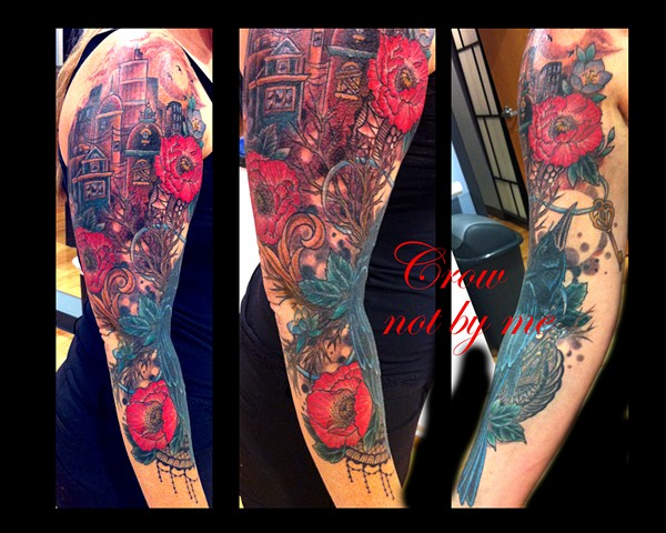 city moon poppies wildflowers lace tattoo by Sadie Kennedy, Rose Golds Tattoo, San Francisco