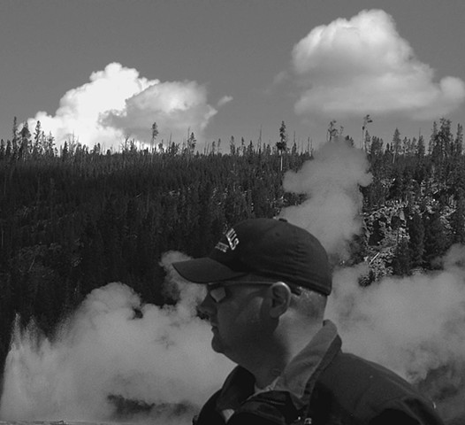 A Man and Yellowstone Clouds